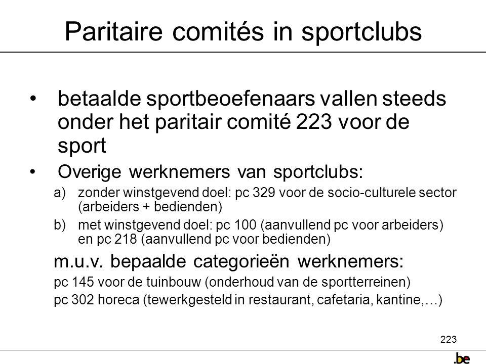Paritaire comités in sportclubs