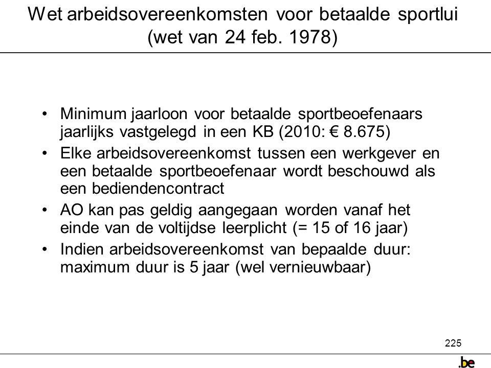 Wet arbeidsovereenkomsten voor betaalde sportlui (wet van 24 feb. 1978)