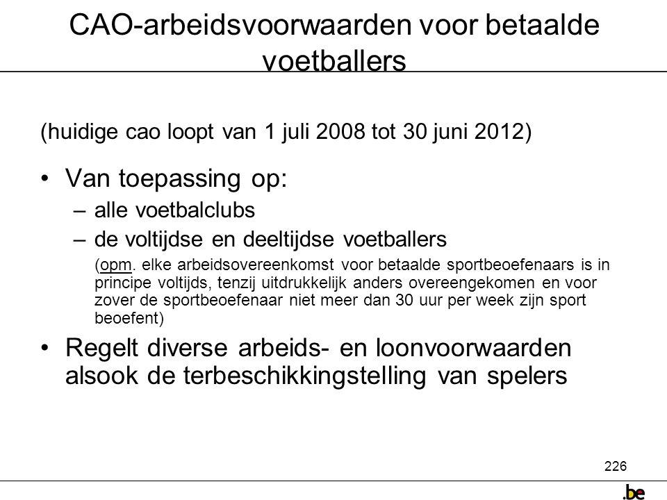 CAO-arbeidsvoorwaarden voor betaalde voetballers