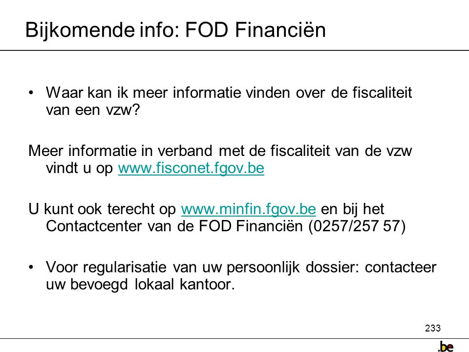 Bijkomende info: FOD Financiën