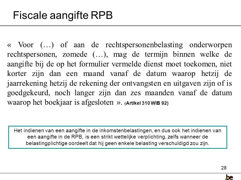 Fiscale aangifte RPB
