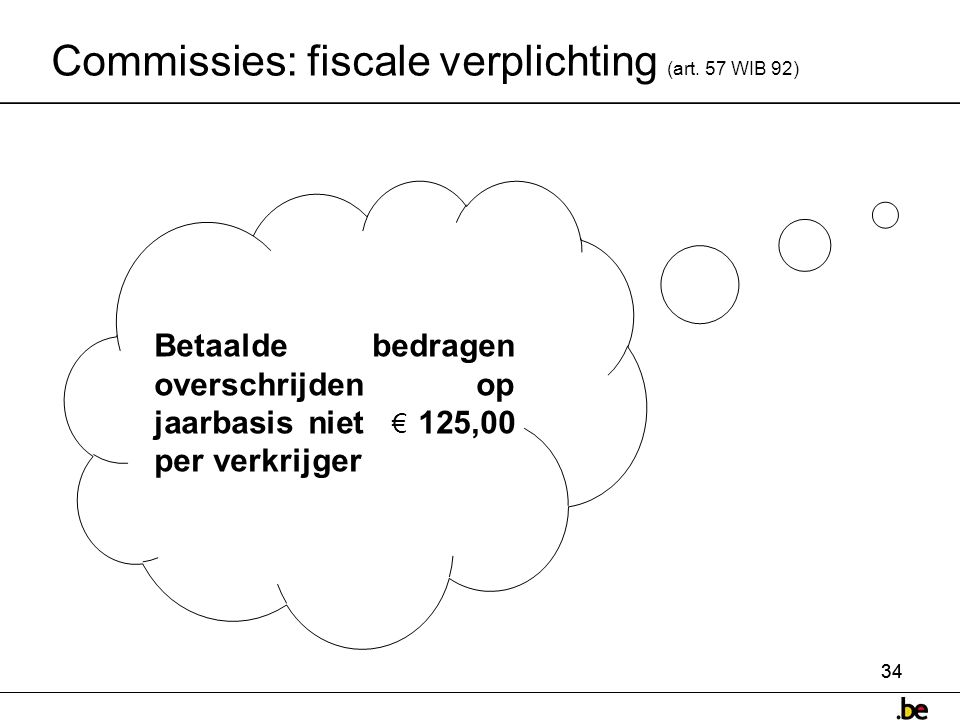 Commissies: fiscale verplichting (art. 57 WIB 92)