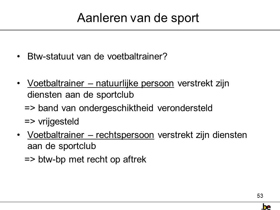 Aanleren van de sport Btw-statuut van de voetbaltrainer