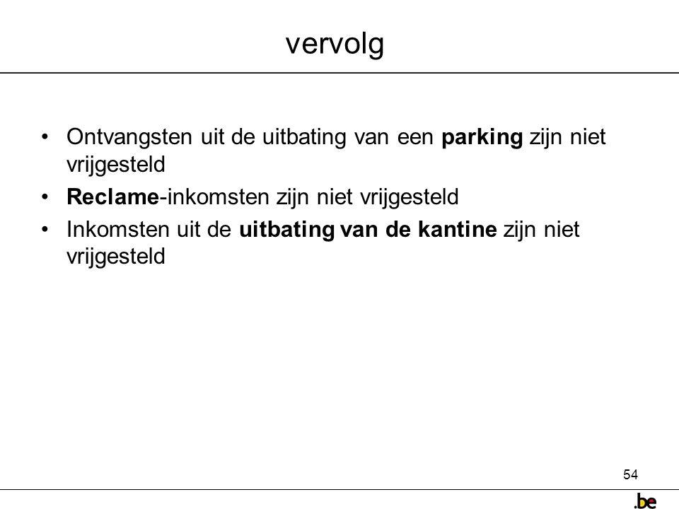 vervolg Ontvangsten uit de uitbating van een parking zijn niet vrijgesteld. Reclame-inkomsten zijn niet vrijgesteld.