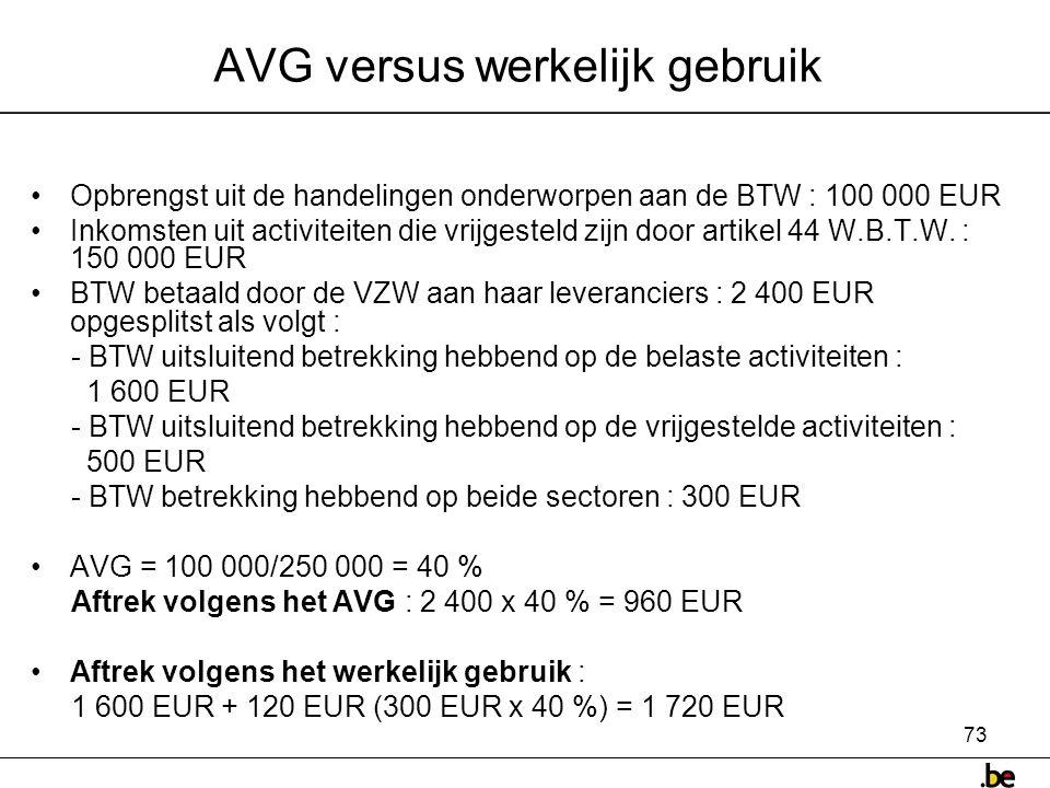AVG versus werkelijk gebruik