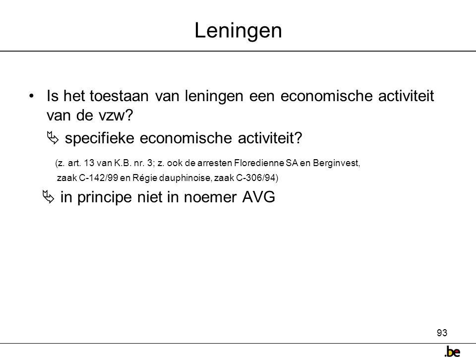 Leningen Is het toestaan van leningen een economische activiteit van de vzw  specifieke economische activiteit