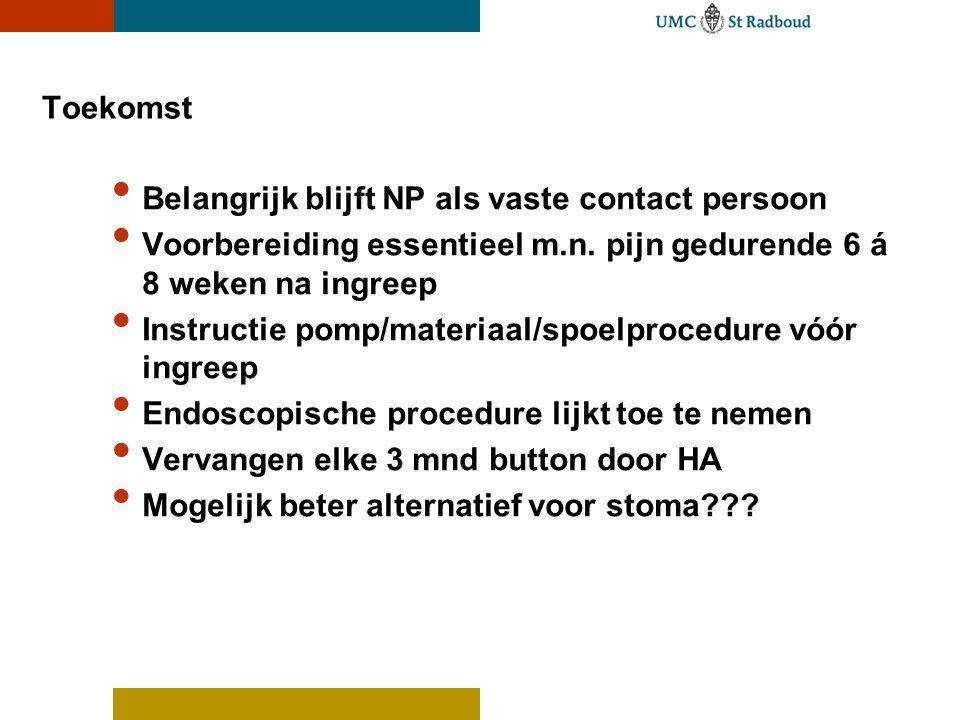 Toekomst Belangrijk blijft NP als vaste contact persoon. Voorbereiding essentieel m.n. pijn gedurende 6 á 8 weken na ingreep.