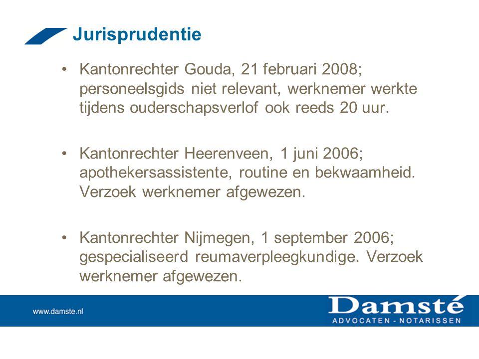 Jurisprudentie Kantonrechter Gouda, 21 februari 2008; personeelsgids niet relevant, werknemer werkte tijdens ouderschapsverlof ook reeds 20 uur.