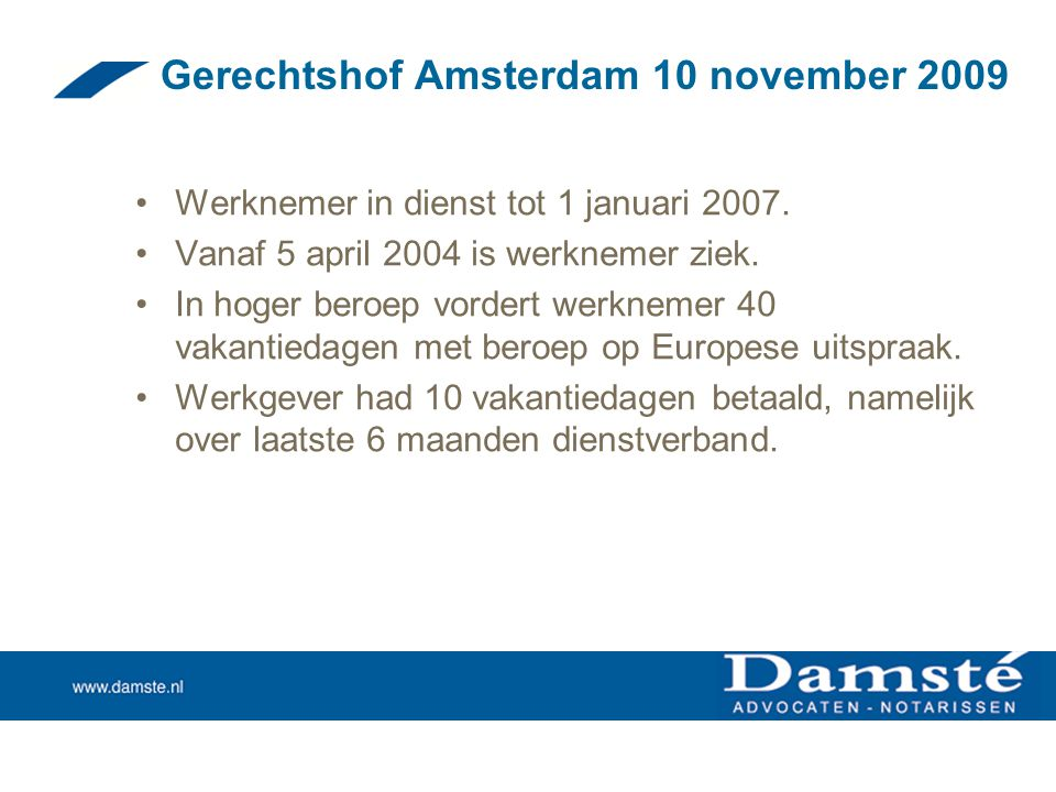 Gerechtshof Amsterdam 10 november 2009