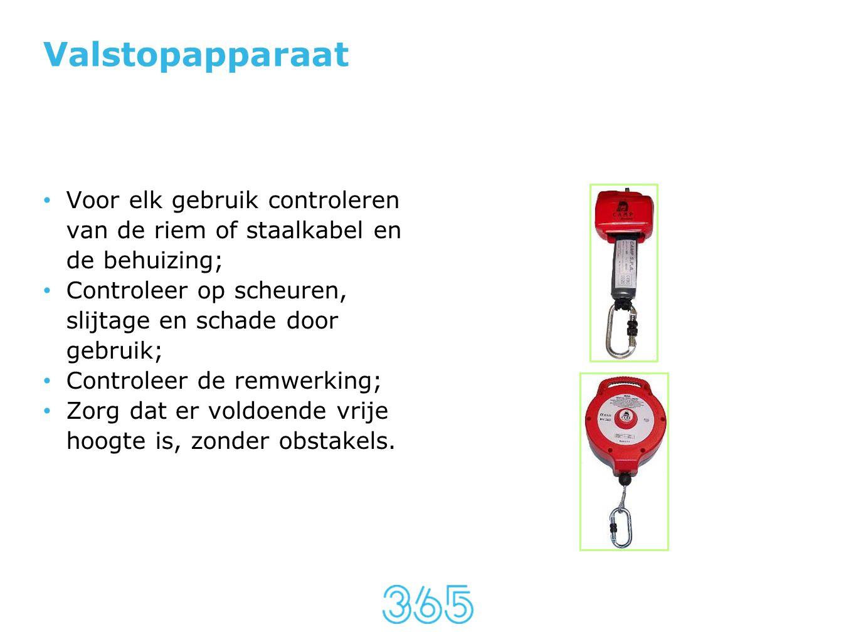 Valstopapparaat Voor elk gebruik controleren van de riem of staalkabel en de behuizing; Controleer op scheuren, slijtage en schade door gebruik;