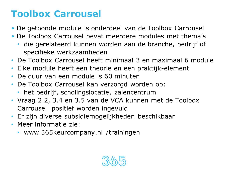 Toolbox Carrousel De getoonde module is onderdeel van de Toolbox Carrousel. De Toolbox Carrousel bevat meerdere modules met thema's.