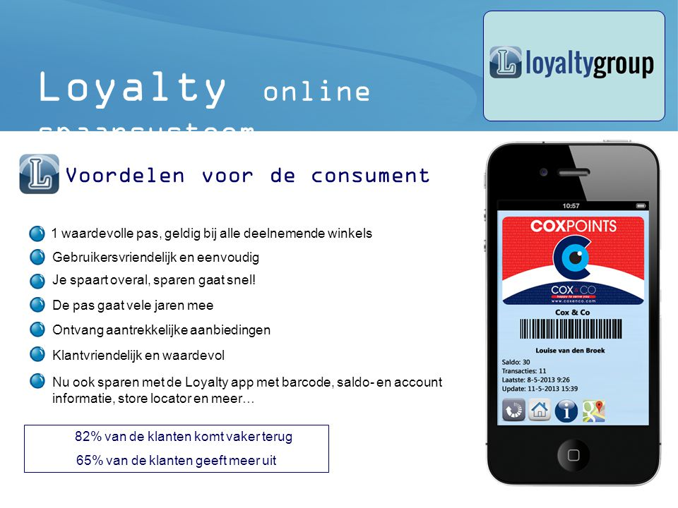 Loyalty online spaarsysteem