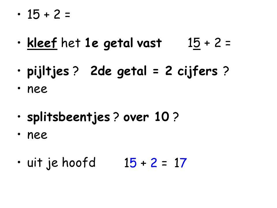 15 + 2 = kleef het 1e getal vast 15 + 2 = pijltjes 2de getal = 2 cijfers nee. splitsbeentjes over 10