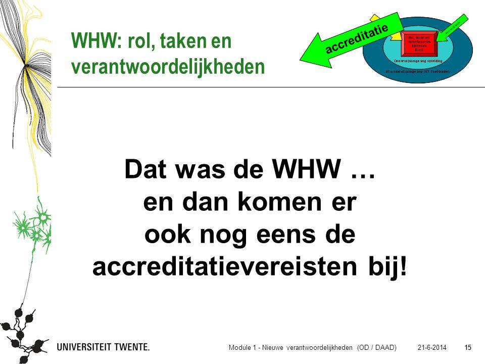 accreditatie WHW: rol, taken en verantwoordelijkheden. Dat was de WHW … en dan komen er ook nog eens de accreditatievereisten bij!