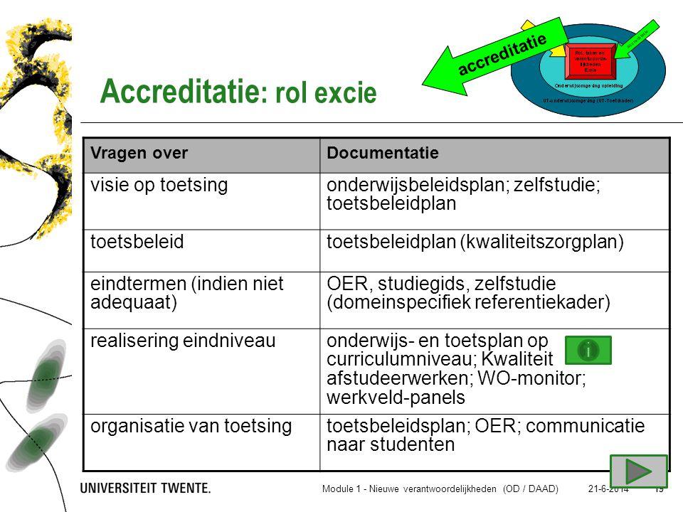 Accreditatie: rol excie