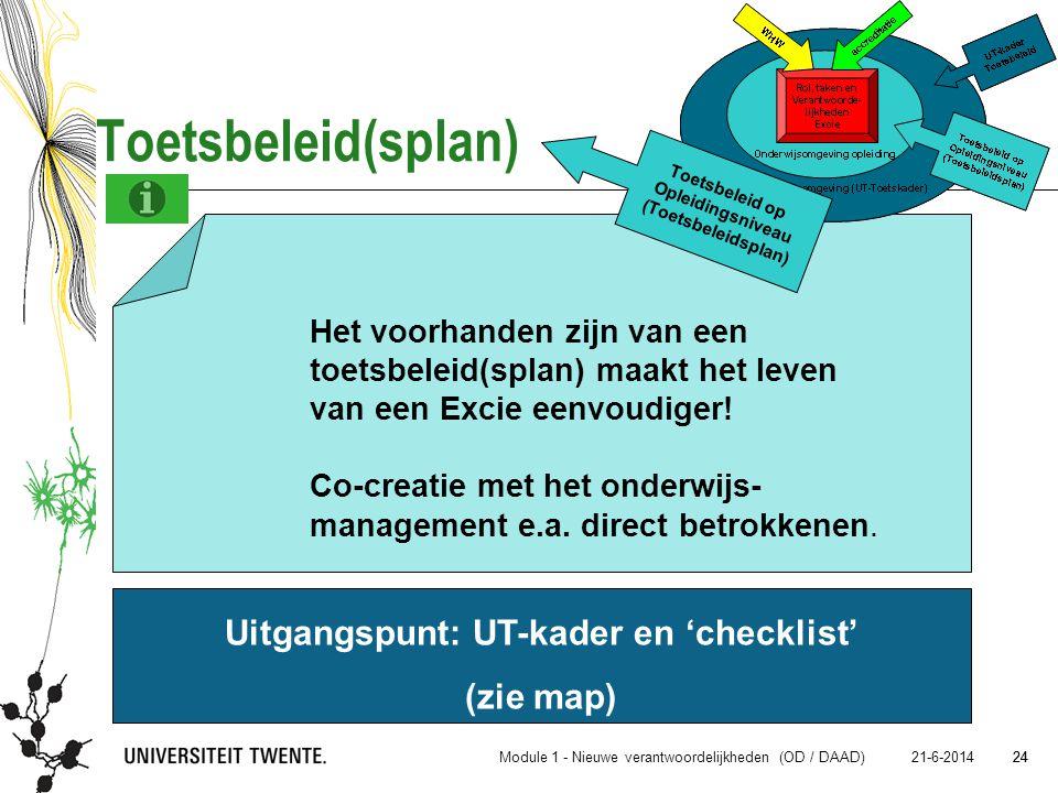 Uitgangspunt: UT-kader en 'checklist'
