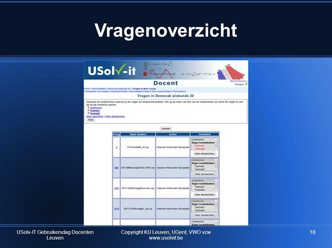 Vragenoverzicht USolv-IT Gebruikersdag Docenten Leuven