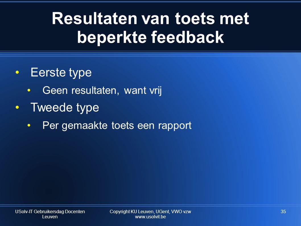 Resultaten van toets met beperkte feedback