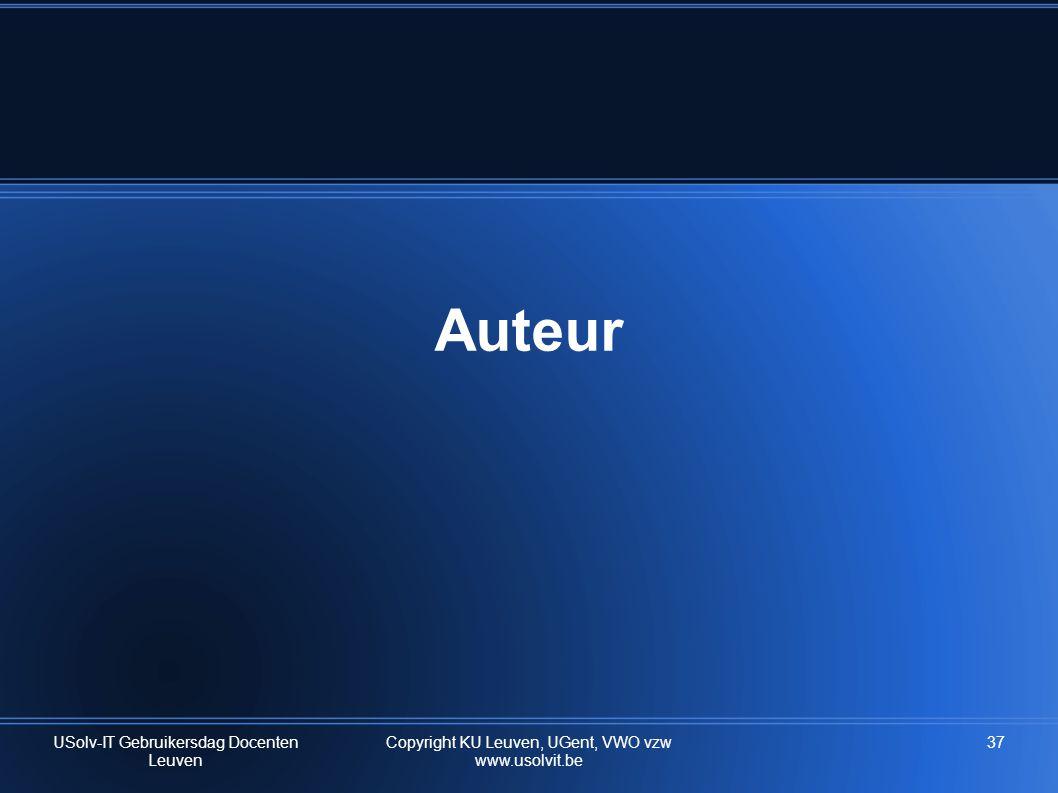 Auteur USolv-IT Gebruikersdag Docenten Leuven