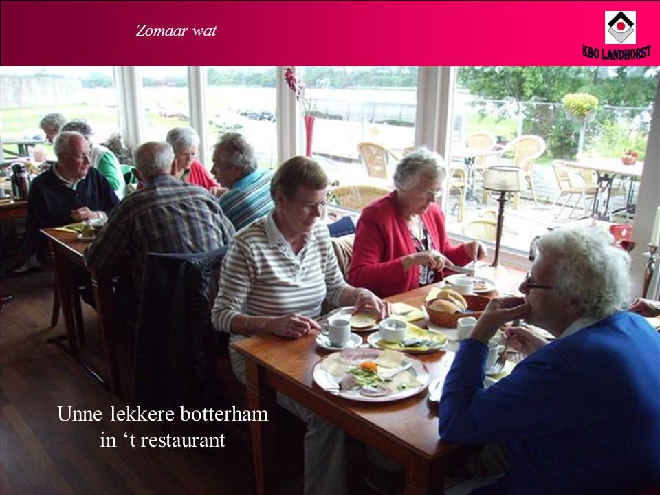 Unne lekkere botterham in 't restaurant