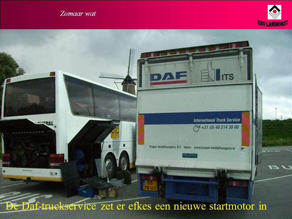 De Daf-truckservice zet er efkes een nieuwe startmotor in