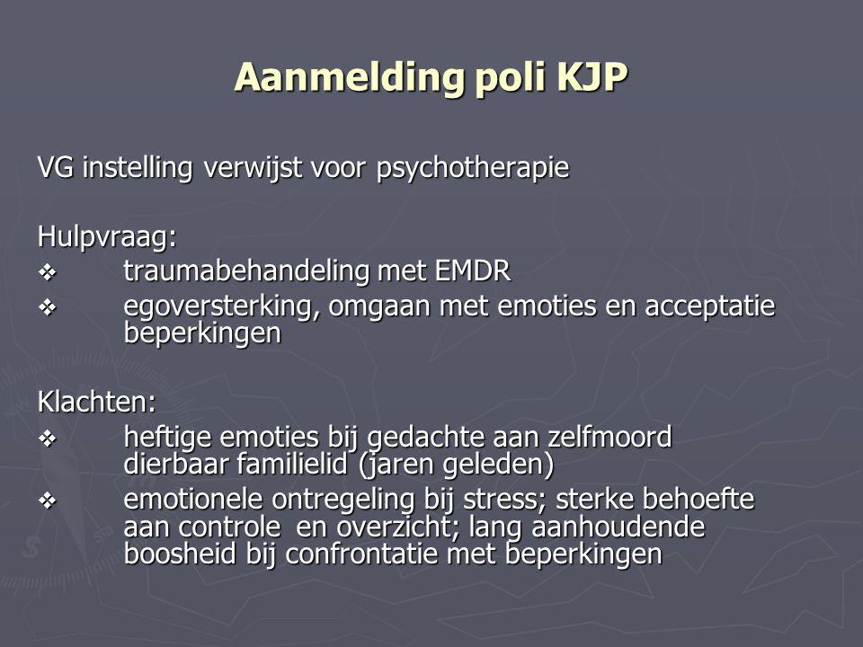 Aanmelding poli KJP VG instelling verwijst voor psychotherapie