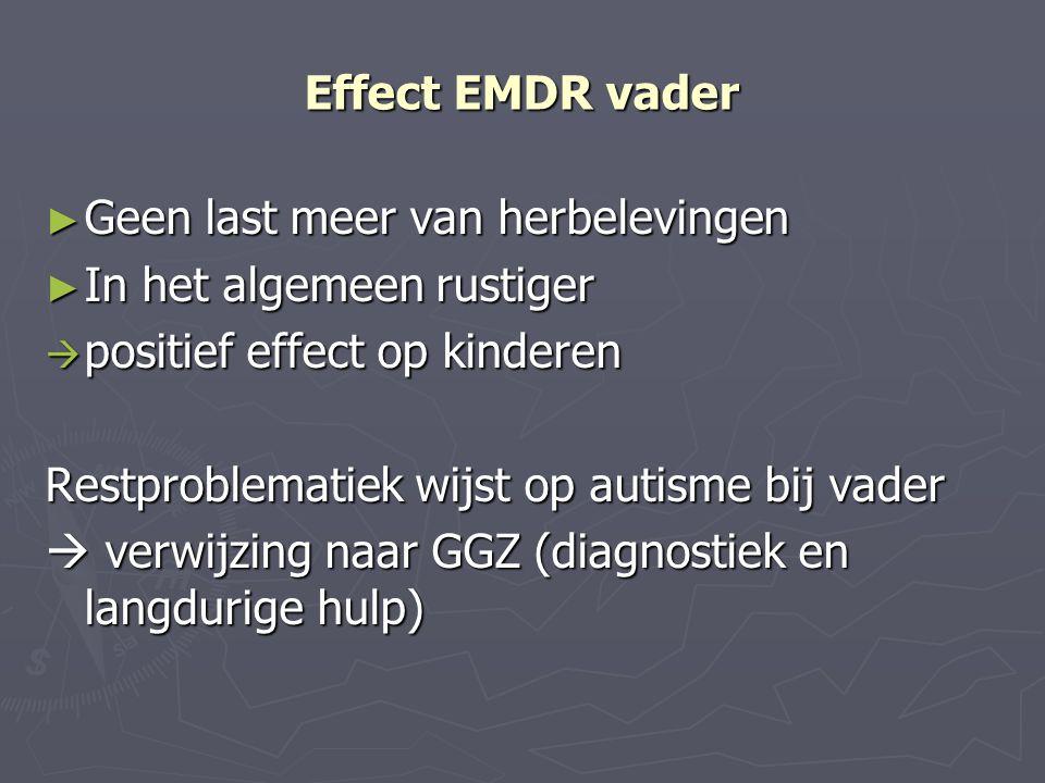 Effect EMDR vader Geen last meer van herbelevingen. In het algemeen rustiger. positief effect op kinderen.