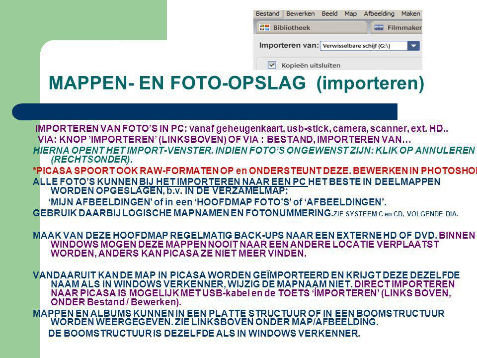 MAPPEN- EN FOTO-OPSLAG (importeren)