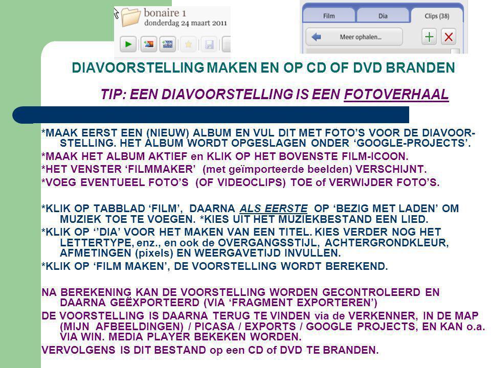 DIAVOORSTELLING MAKEN EN OP CD OF DVD BRANDEN