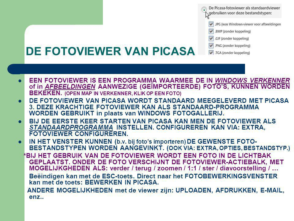 DE FOTOVIEWER VAN PICASA