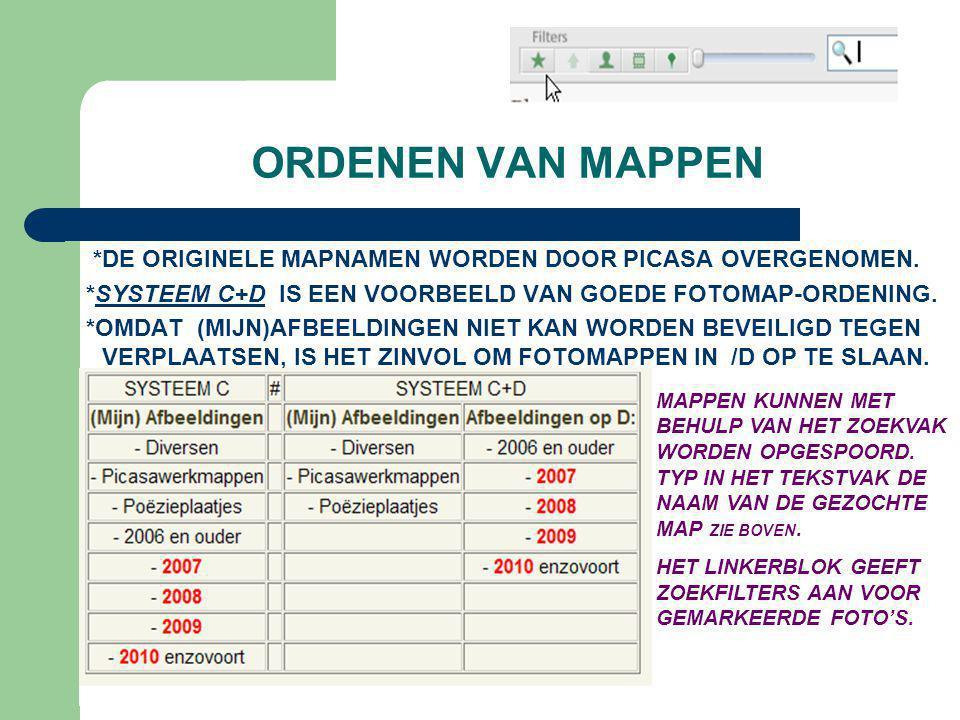 ORDENEN VAN MAPPEN *DE ORIGINELE MAPNAMEN WORDEN DOOR PICASA OVERGENOMEN. *SYSTEEM C+D IS EEN VOORBEELD VAN GOEDE FOTOMAP-ORDENING.