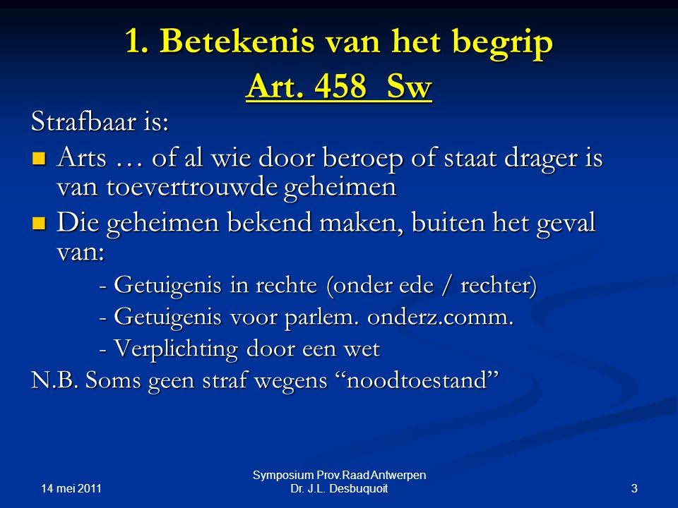 1. Betekenis van het begrip Art. 458 Sw