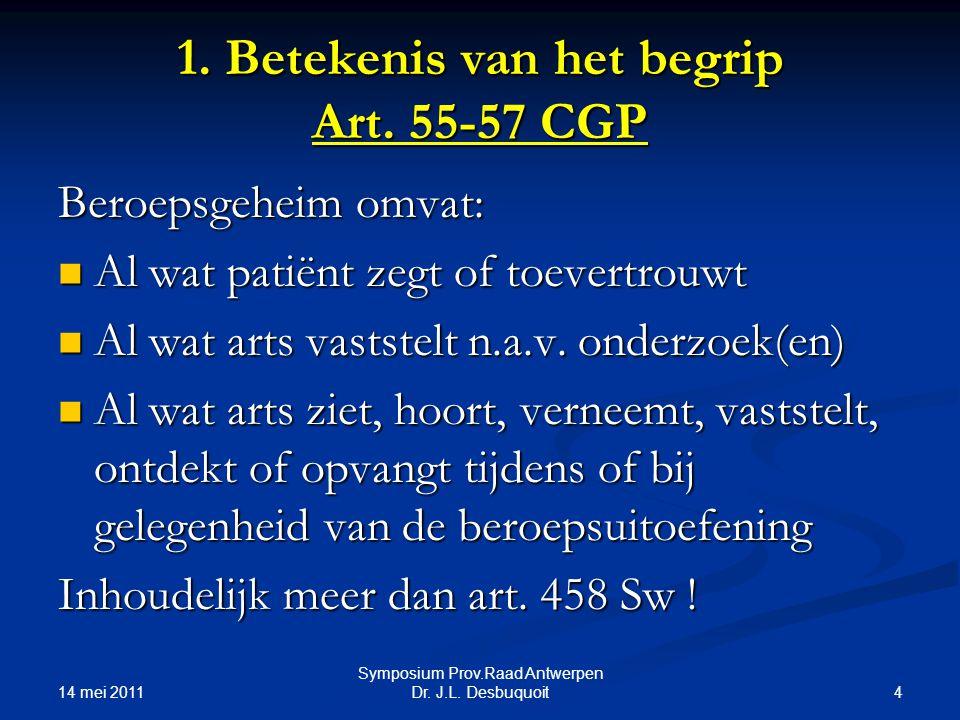 1. Betekenis van het begrip Art. 55-57 CGP