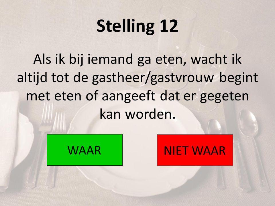 Stelling 12 Als ik bij iemand ga eten, wacht ik altijd tot de gastheer/gastvrouw begint met eten of aangeeft dat er gegeten kan worden.