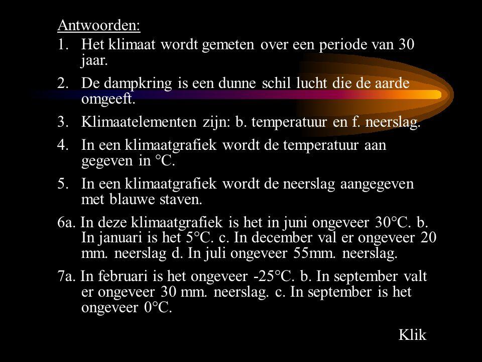 Antwoorden: Het klimaat wordt gemeten over een periode van 30 jaar. De dampkring is een dunne schil lucht die de aarde omgeeft.