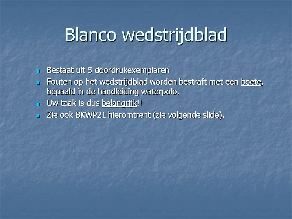 Blanco wedstrijdblad Bestaat uit 5 doordrukexemplaren