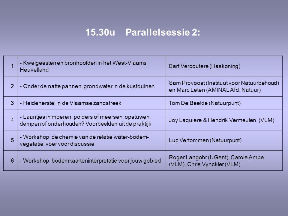 15.30u Parallelsessie 2: 1. - Kwelgeesten en bronhoofden in het West-Vlaams Heuvelland. Bart Vercoutere (Haskoning)