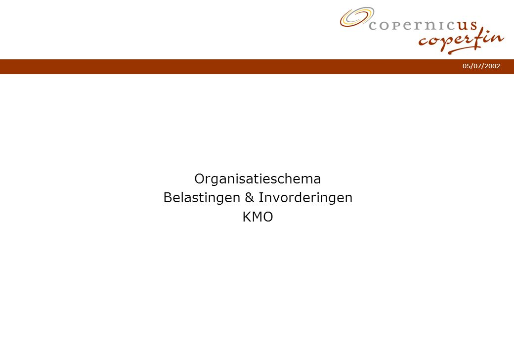 Organisatieschema Belastingen & Invorderingen KMO