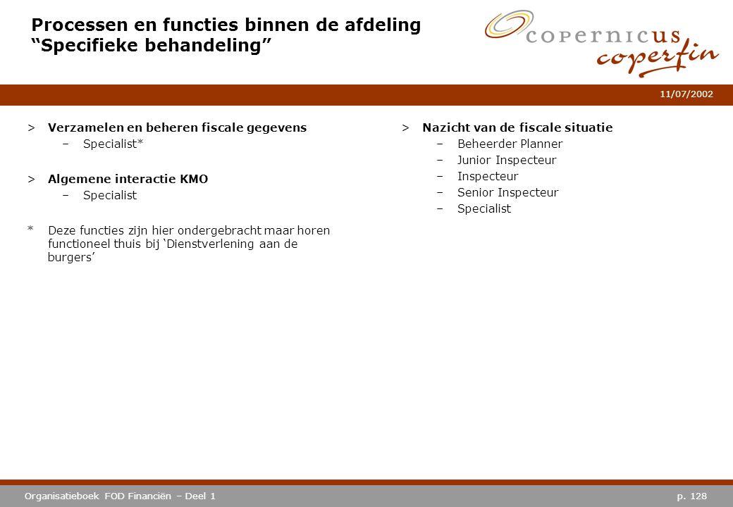 Processen en functies binnen de afdeling Specifieke behandeling