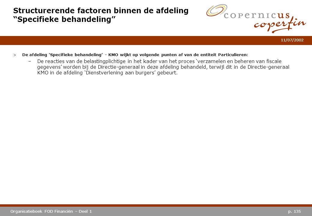 Structurerende factoren binnen de afdeling Specifieke behandeling