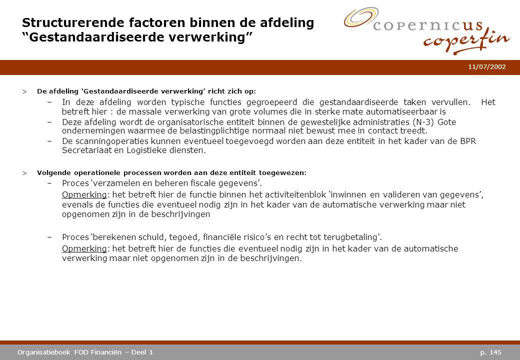 Structurerende factoren binnen de afdeling Gestandaardiseerde verwerking