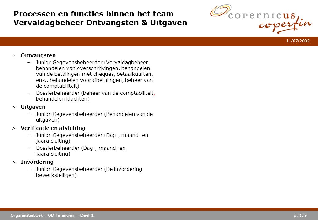 Processen en functies binnen het team Vervaldagbeheer Ontvangsten & Uitgaven