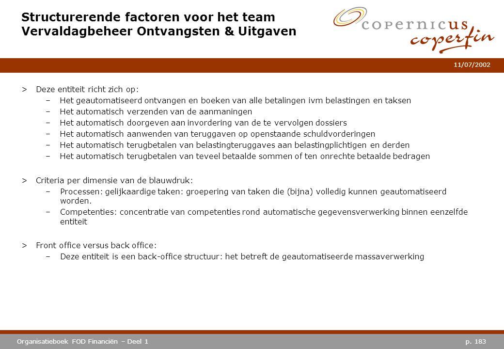 Structurerende factoren voor het team Vervaldagbeheer Ontvangsten & Uitgaven