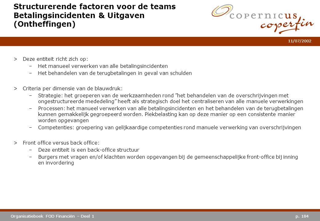 Structurerende factoren voor de teams Betalingsincidenten & Uitgaven (Ontheffingen)