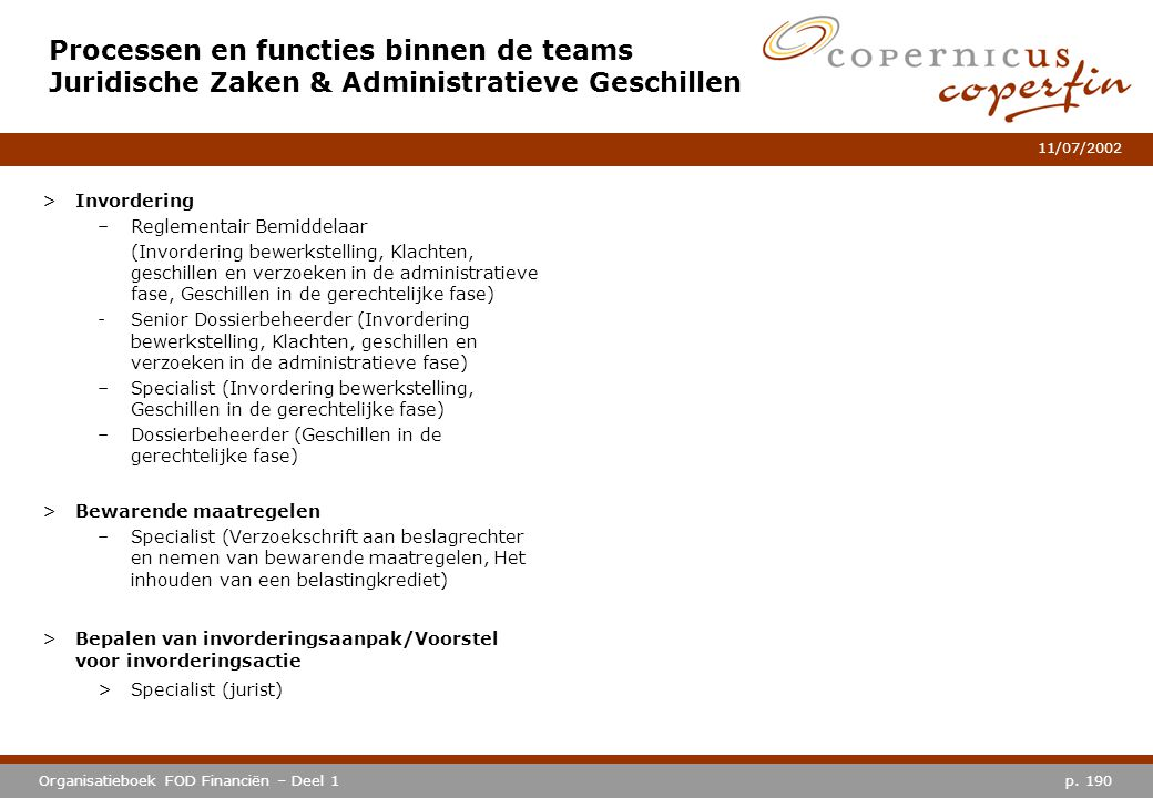 Processen en functies binnen de teams Juridische Zaken & Administratieve Geschillen