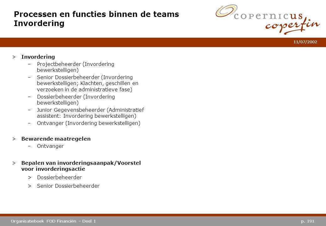 Processen en functies binnen de teams Invordering