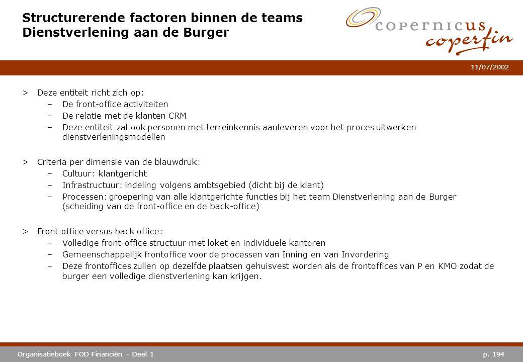 Structurerende factoren binnen de teams Dienstverlening aan de Burger
