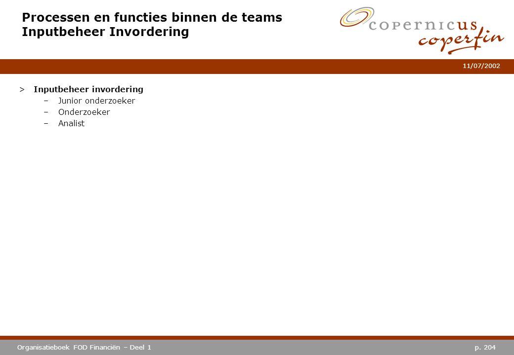 Processen en functies binnen de teams Inputbeheer Invordering