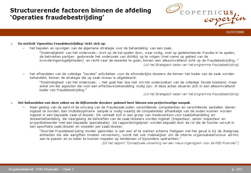 Structurerende factoren binnen de afdeling 'Operaties fraudebestrijding'