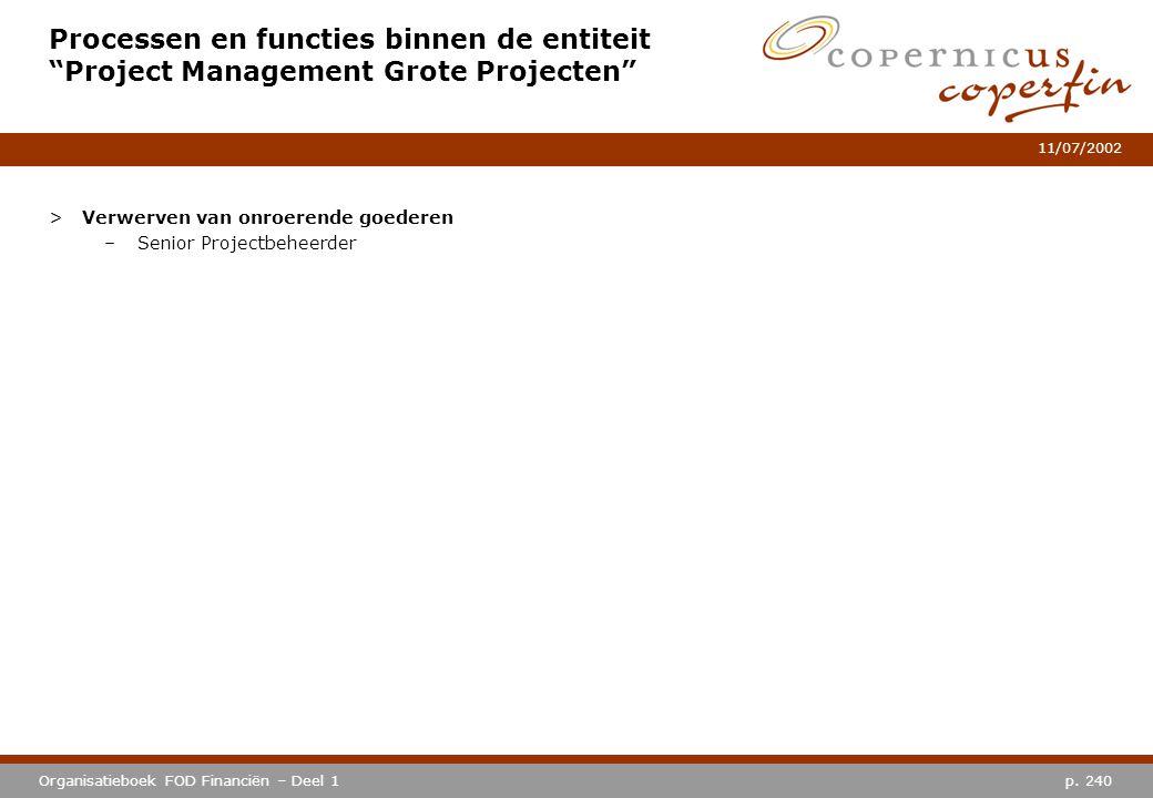 Processen en functies binnen de entiteit Project Management Grote Projecten